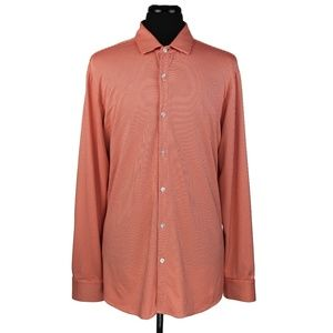 Mizzen+Main Trim Fit L/S Shirt Orange/White Sz XXL